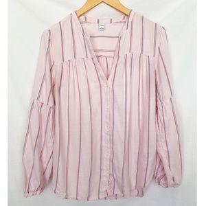 Old Navy Striped Split Neck Button Shirt